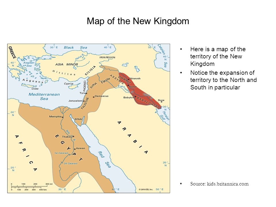 Map of the New Kingdom Here is a map of the territory of the New Kingdom Notice the expansion of territory to the North and South in particular Source