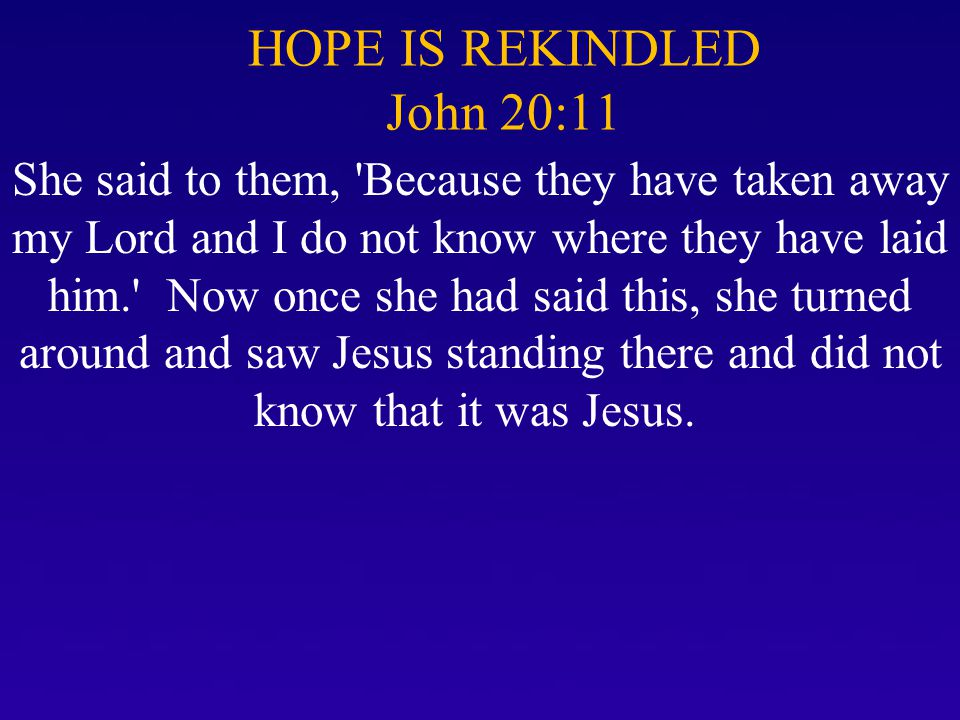 HOPE IS REKINDLED John 20:11 She said to them, 'Because they have taken away my Lord and I do not know where they have laid him.' Now once she had sai