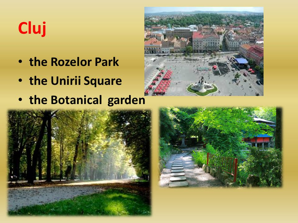 Cluj the Rozelor Park the Unirii Square the Botanical garden