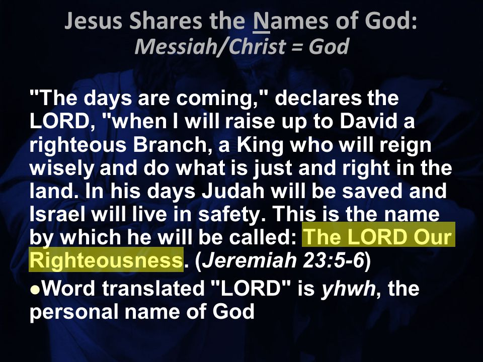 The days are coming, declares the LORD, when I will raise up to David a righteous Branch, a King who will reign wisely and do what is just and right in the land.
