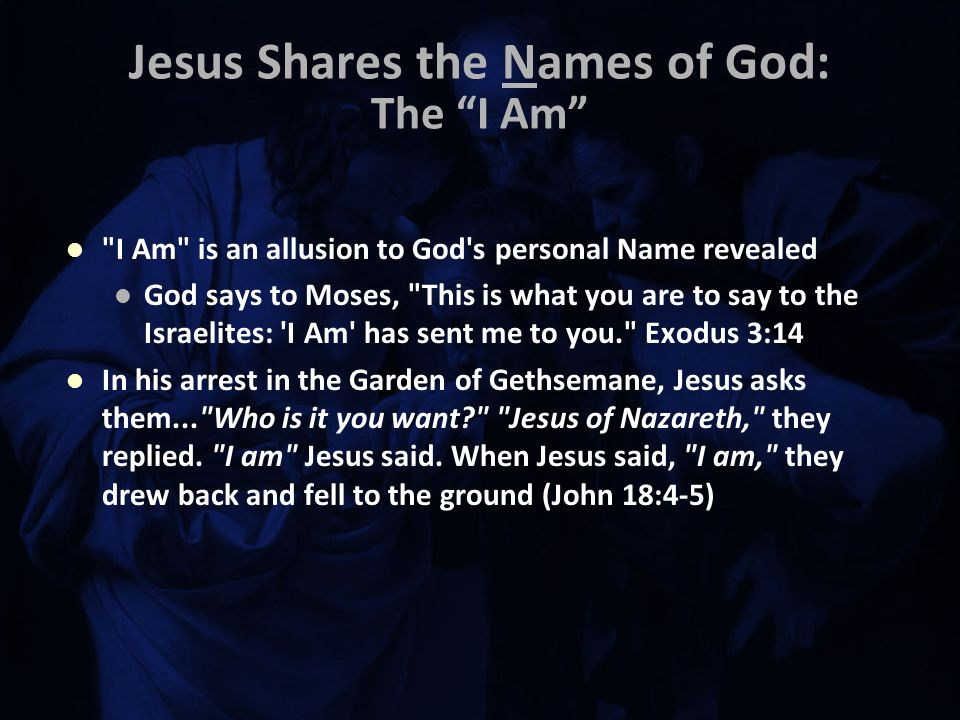 Jesus Shares the Names of God: The I Am I Am is an allusion to God s personal Name revealed God says to Moses, This is what you are to say to the Israelites: I Am has sent me to you. Exodus 3:14 In his arrest in the Garden of Gethsemane, Jesus asks them... Who is it you want Jesus of Nazareth, they replied.