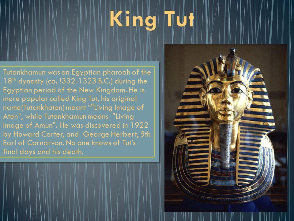 Tutankhamun was an Egyptian pharoah of the 18 th dynasty (ca.