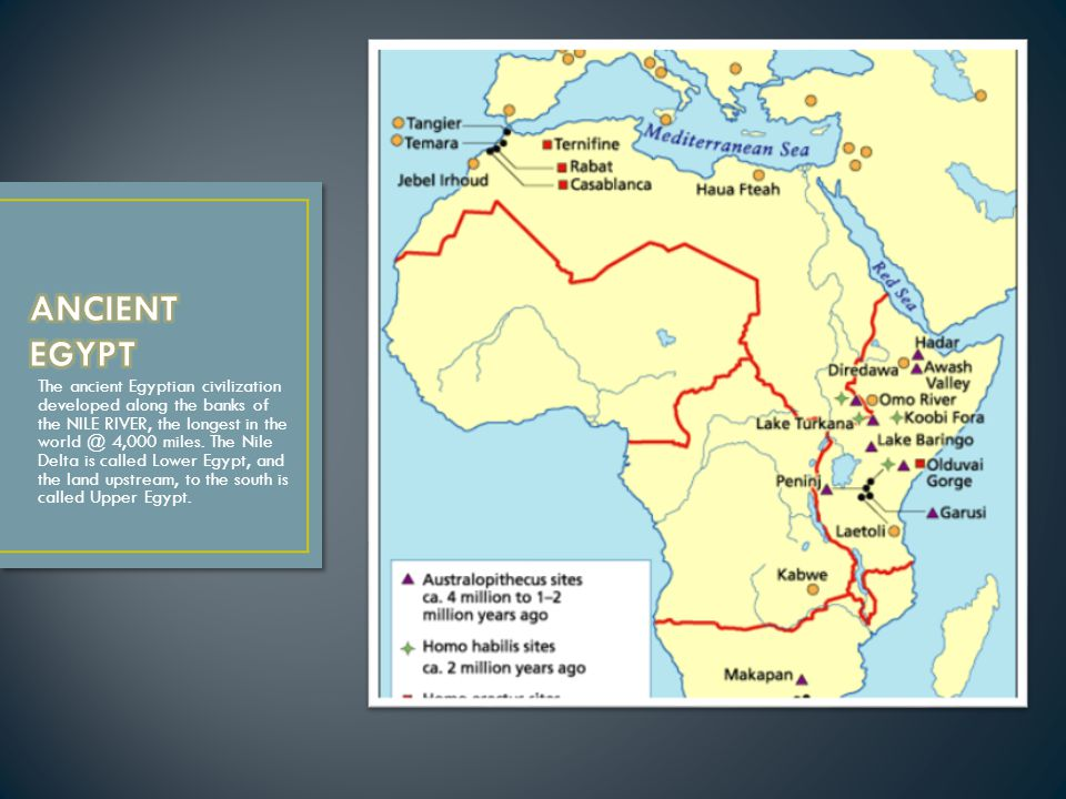 The ancient Egyptian civilization developed along the banks of the NILE RIVER, the longest in the world @ 4,000 miles.