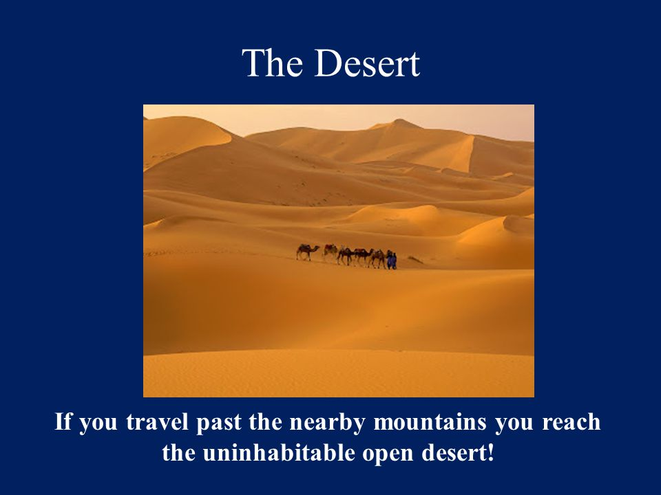 The Desert If you travel past the nearby mountains you reach the uninhabitable open desert!