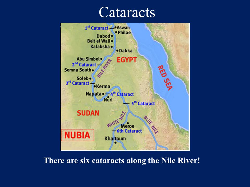 Cataracts There are six cataracts along the Nile River!
