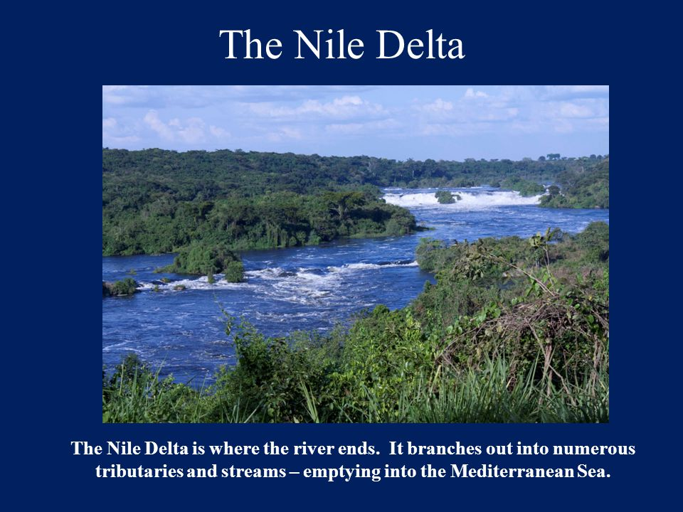 The Nile Delta The Nile Delta is where the river ends. It branches out into numerous tributaries and streams – emptying into the Mediterranean Sea.
