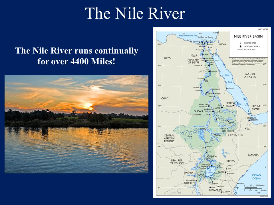 The Nile River The Blue Nile and the White Nile are the source rivers of the true Nile.