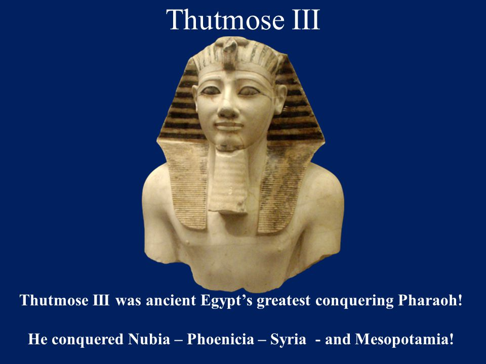 Thutmose III Thutmose III was ancient Egypt's greatest conquering Pharaoh! He conquered Nubia – Phoenicia – Syria - and Mesopotamia!