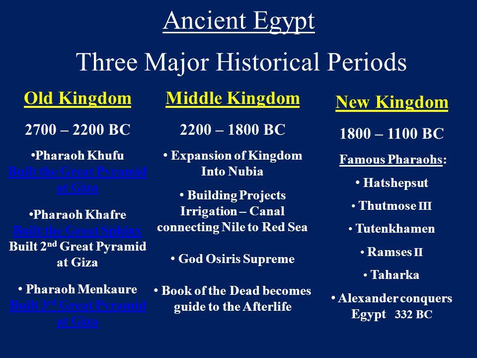 Ancient Egypt Three Major Historical Periods Old Kingdom 2700 – 2200 BC Pharaoh Khufu Built the Great Pyramid at Giza Pharaoh Khafre Built the Great S