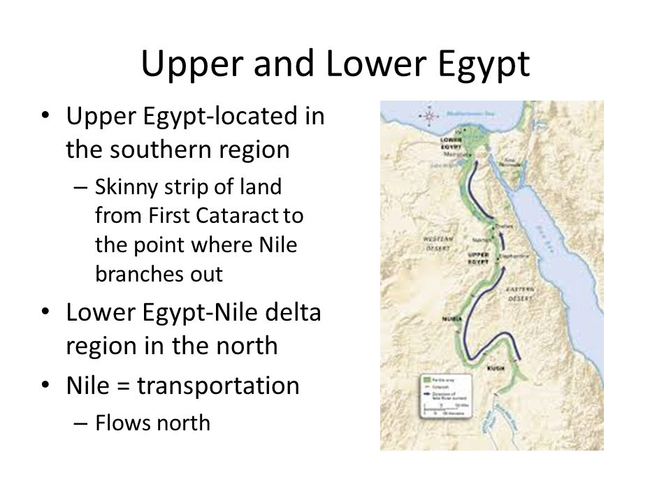 Upper and Lower Egypt Upper Egypt-located in the southern region – Skinny strip of land from First Cataract to the point where Nile branches out Lower Egypt-Nile delta region in the north Nile = transportation – Flows north