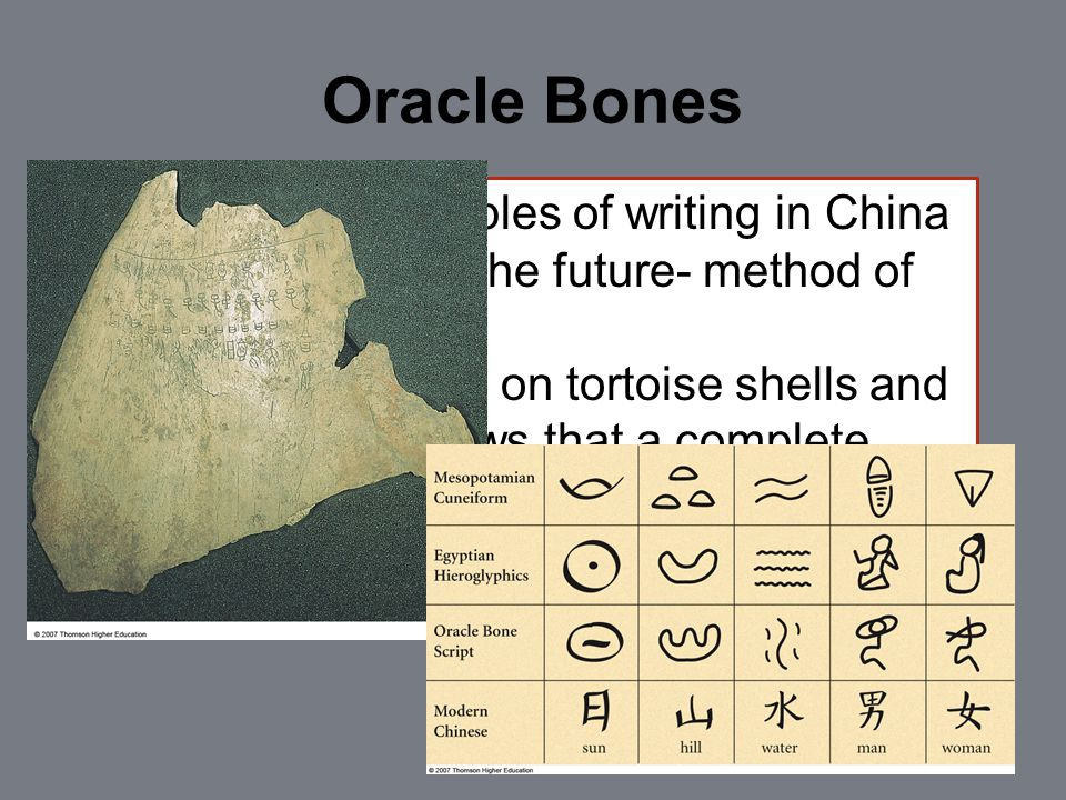Oracle Bones 1 st known examples of writing in China Used to predict the future- method of divination Historical writing on tortoise shells and bones.