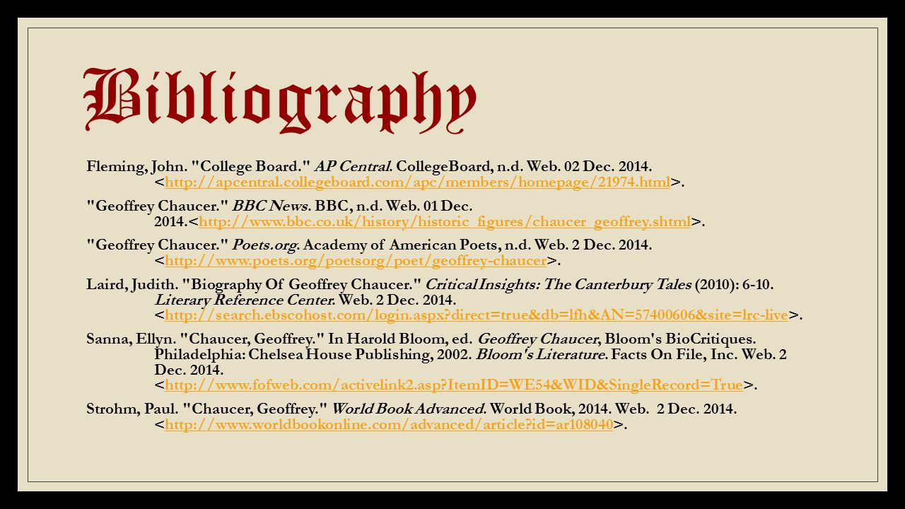 Bibliography Fleming, John. College Board. AP Central.