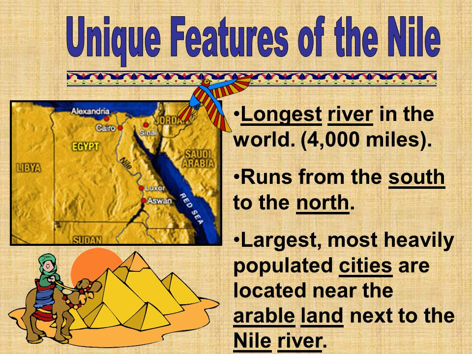 Longest river in the world. (4,000 miles). Runs from the south to the north. Largest, most heavily populated cities are located near the arable land n