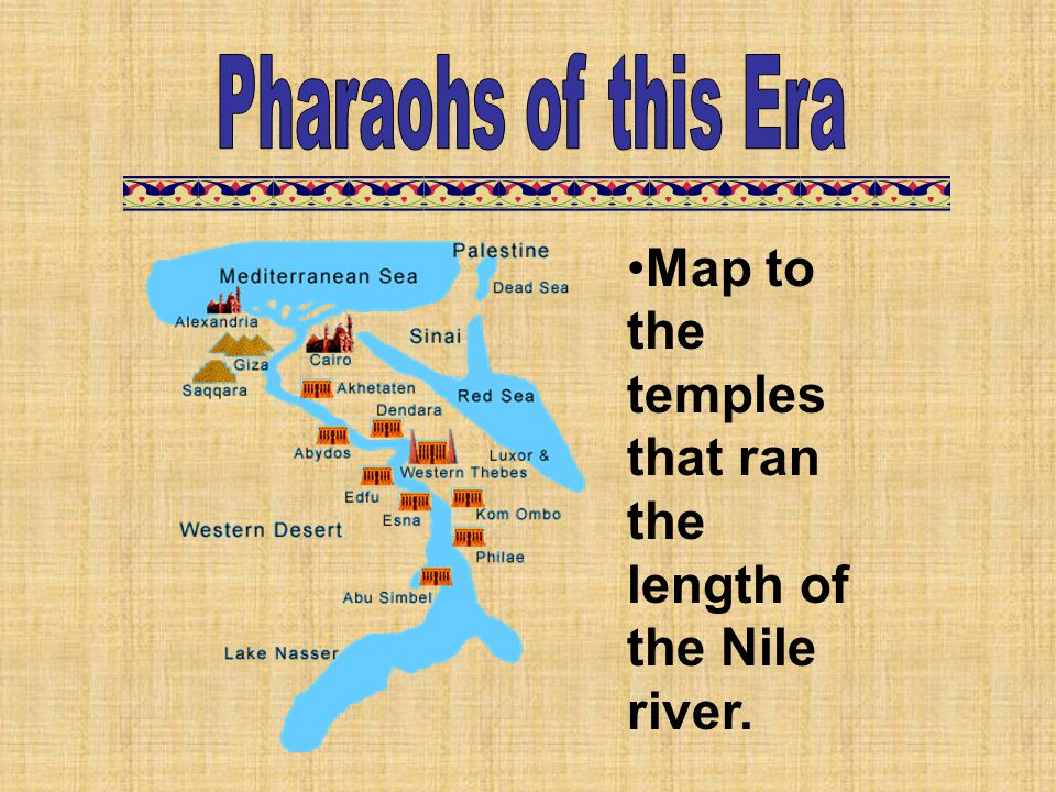Map to the temples that ran the length of the Nile river.