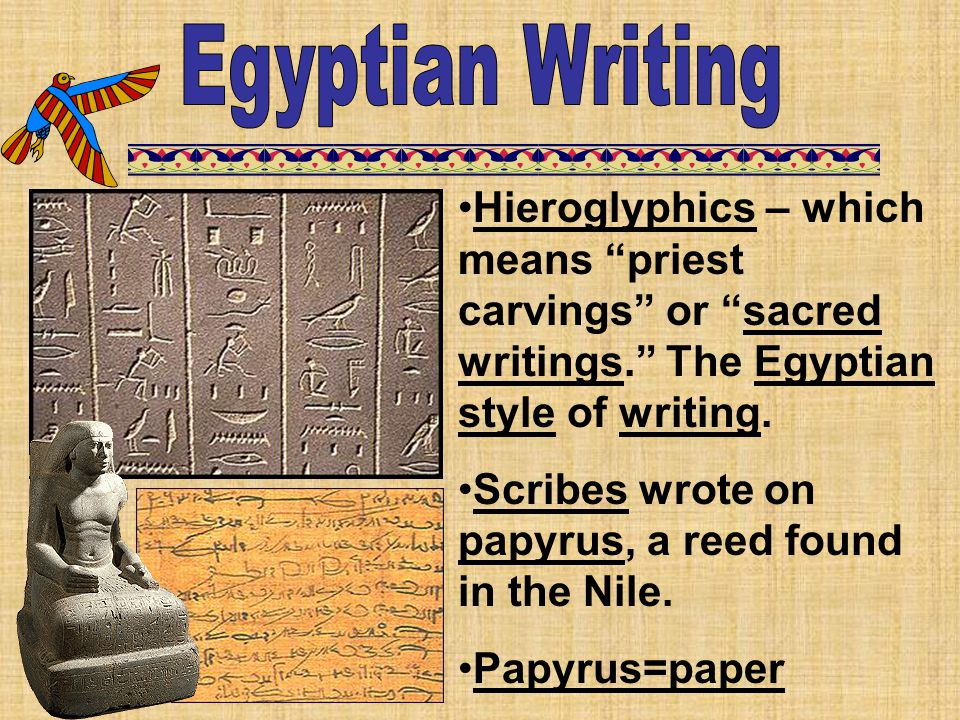 "Hieroglyphics – which means ""priest carvings"" or ""sacred writings."" The Egyptian style of writing. Scribes wrote on papyrus, a reed found in the Nile."