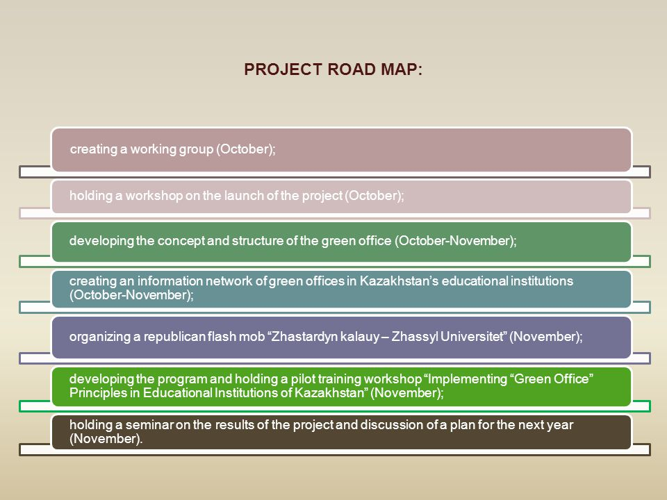 PROJECT ROAD MAP: creating a working group (October); holding a workshop on the launch of the project (October); developing the concept and structure