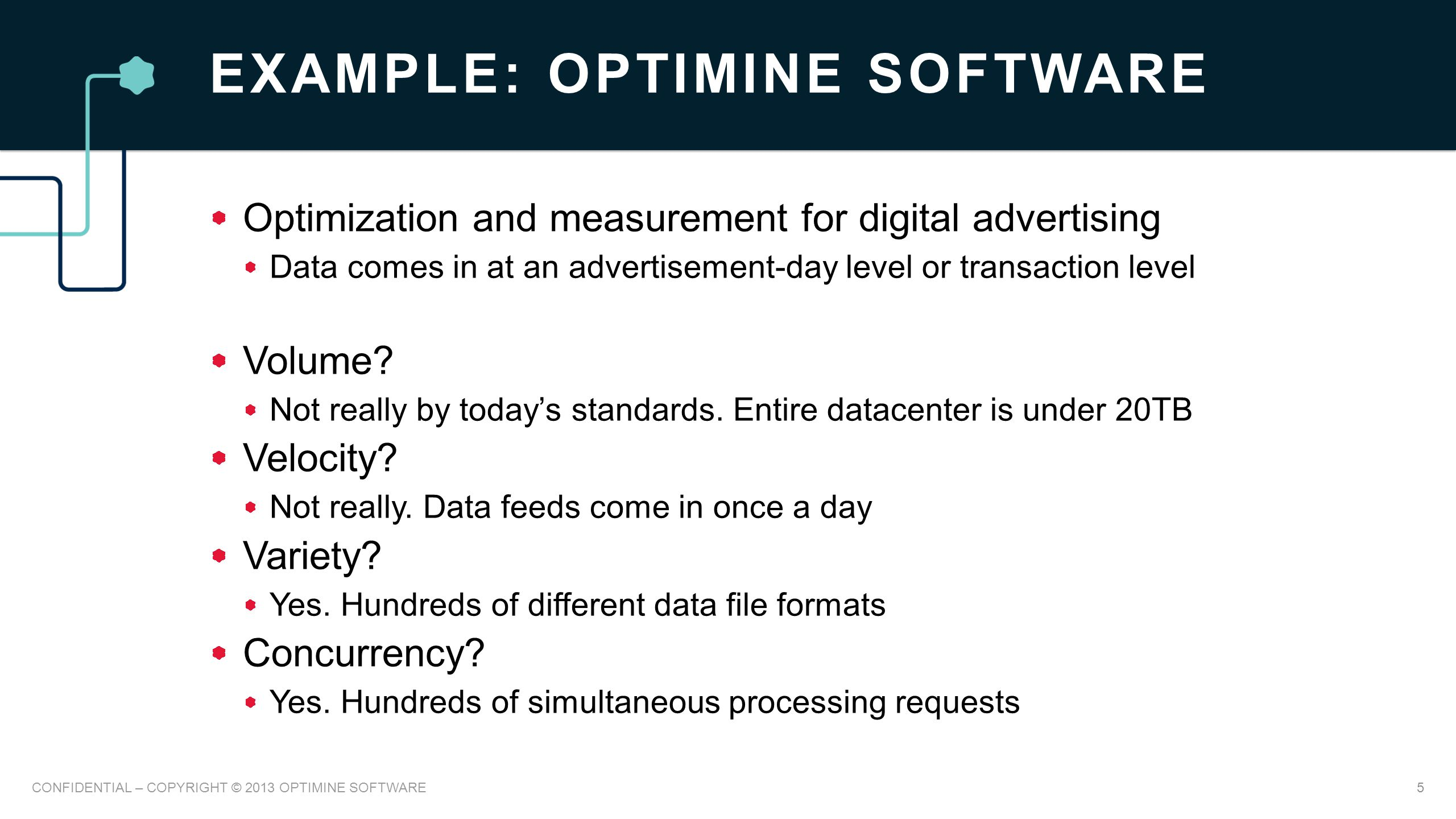 EXAMPLE: OPTIMINE SOFTWARE Optimization and measurement for digital advertising Data comes in at an advertisement-day level or transaction level Volume.