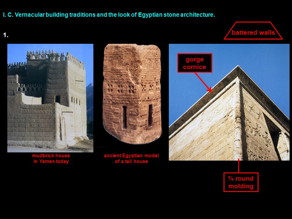 I. C. Vernacular building traditions and the look of Egyptian stone architecture.
