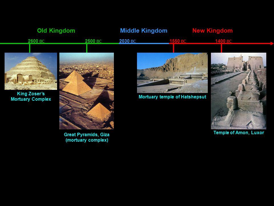 Old KingdomMiddle KingdomNew Kingdom King Zoser's Mortuary Complex Great Pyramids, Giza (mortuary complex) Mortuary temple of Hatshepsut Temple of Amon, Luxor 2600 BC 2500 BC 2030 BC 1550 BC 1400 BC