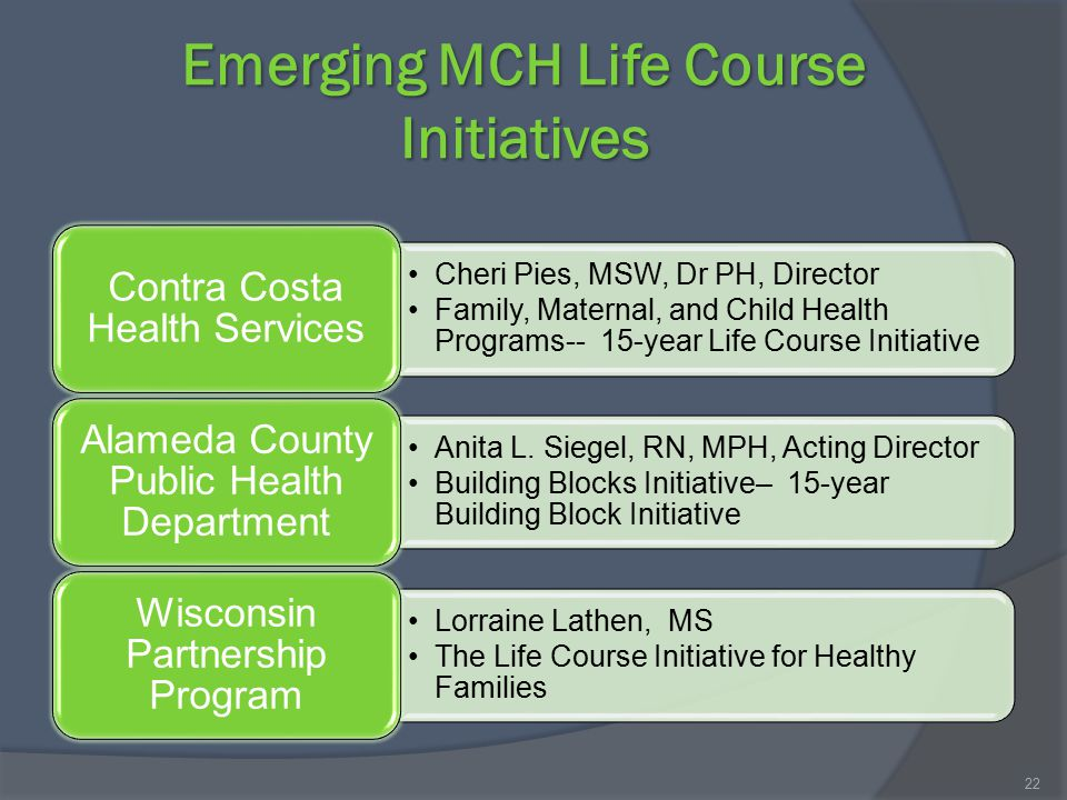 Emerging MCH Life Course Initiatives Cheri Pies, MSW, Dr PH, Director Family, Maternal, and Child Health Programs-- 15-year Life Course Initiative Con