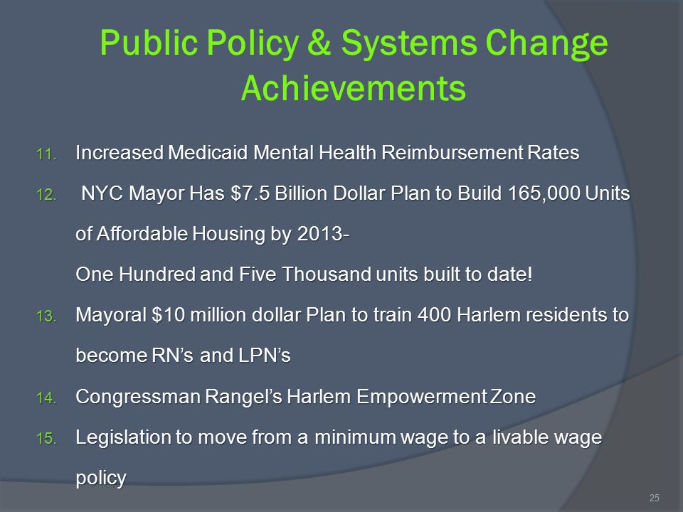 Public Policy & Systems Change Achievements 11. Increased Medicaid Mental Health Reimbursement Rates 12. NYC Mayor Has $7.5 Billion Dollar Plan to Bui