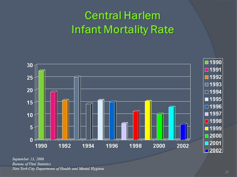 Central Harlem Infant Mortality Rate 27 September 13, 2006 Bureau of Vital Statistics New York City Department of Health and Mental Hygiene