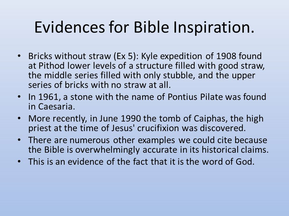 Evidences for Bible Inspiration.
