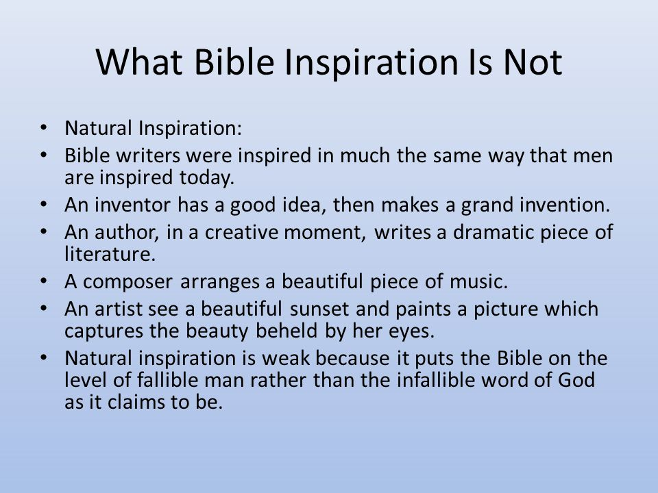 What Bible Inspiration Is Not Partial Inspiration: This means just what it says: only parts of the Bible are inspired.