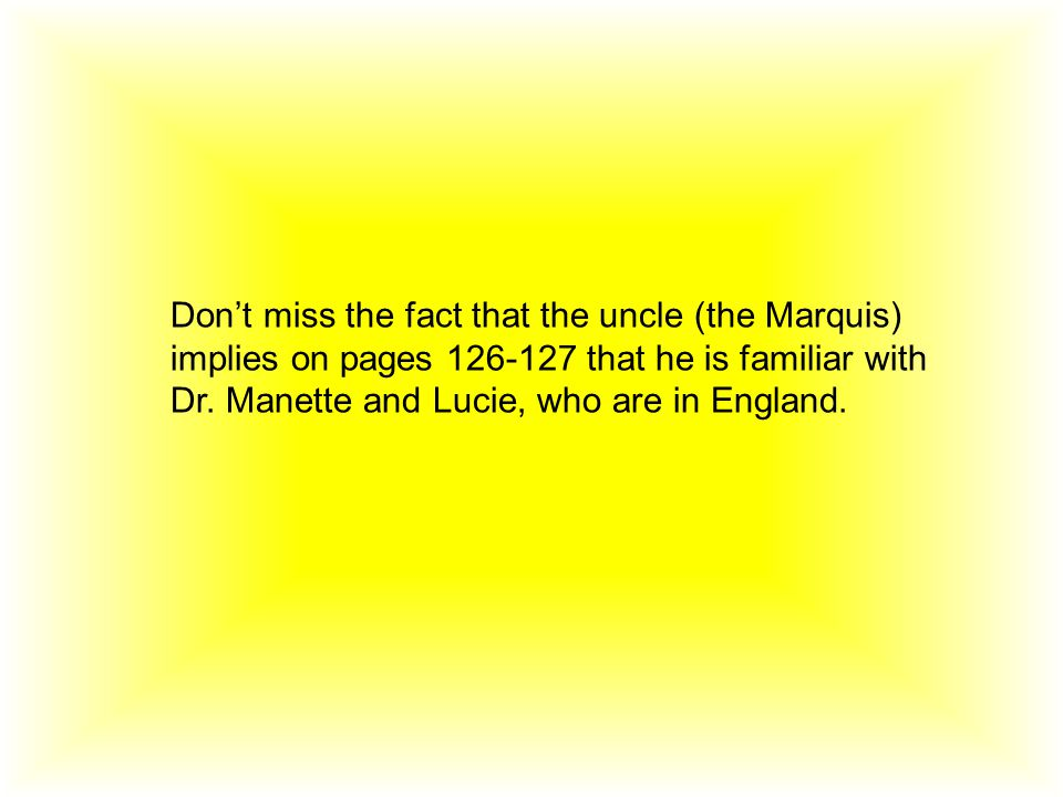 Don't miss the fact that the uncle (the Marquis) implies on pages 126-127 that he is familiar with Dr.