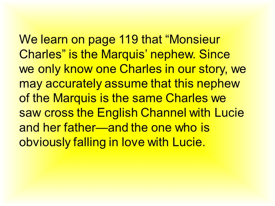 We learn on page 119 that Monsieur Charles is the Marquis' nephew.