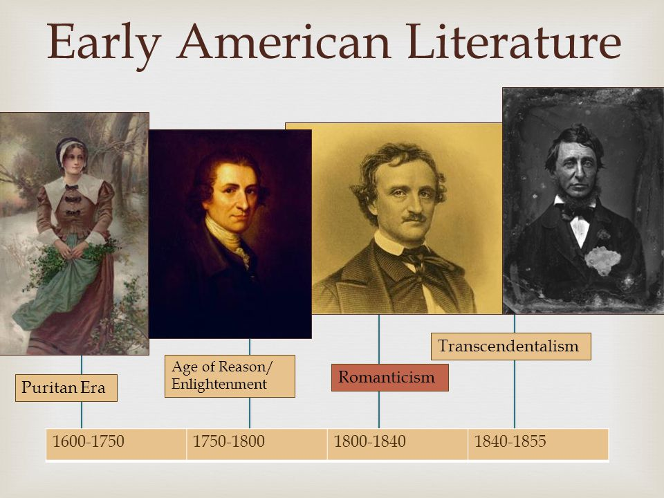  1600-17501750-18001800-18401840-1855 Early American Literature Puritan Era Age of Reason/ Enlightenment Transcendentalism Romanticism