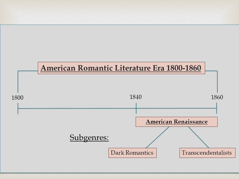  American Romantic Literature Era 1800-1860 American Renaissance Dark RomanticsTranscendentalists 1800 1860 1840 Subgenres: