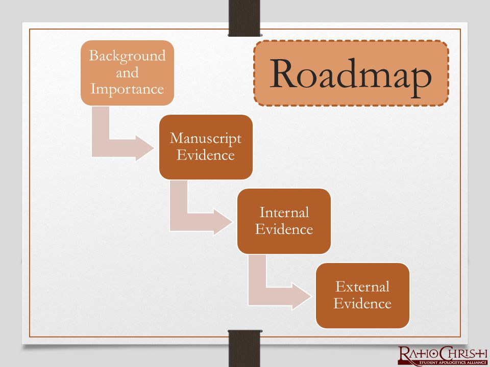 Background and Importance Manuscript Evidence Internal Evidence External Evidence Roadmap
