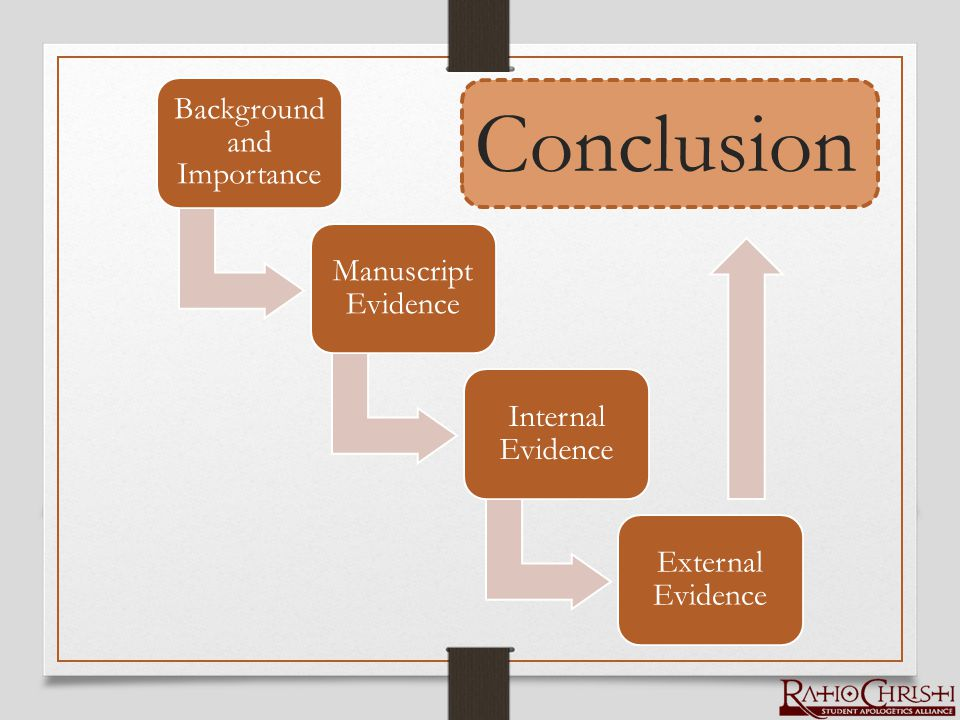 Background and Importance Manuscript Evidence Internal Evidence External Evidence Conclusion