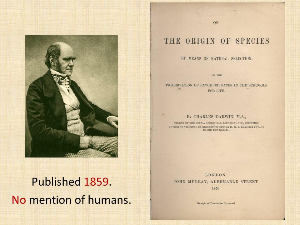 Published 1859. No mention of humans. 50