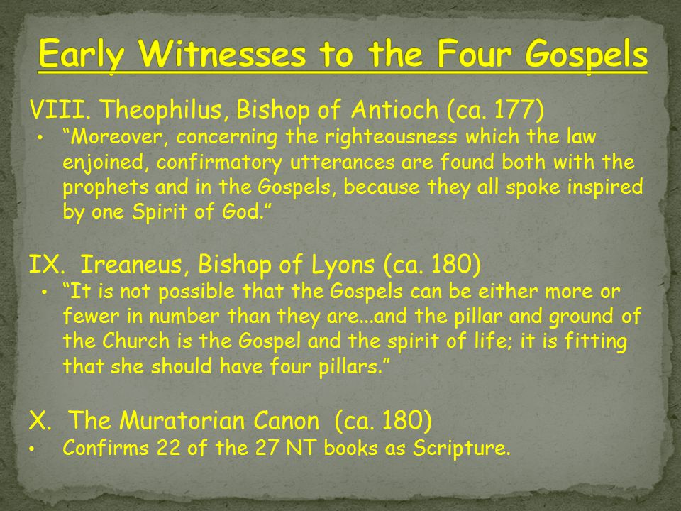 """VIII. Theophilus, Bishop of Antioch (ca. 177) """"Moreover, concerning the righteousness which the law enjoined, confirmatory utterances are found both w"""