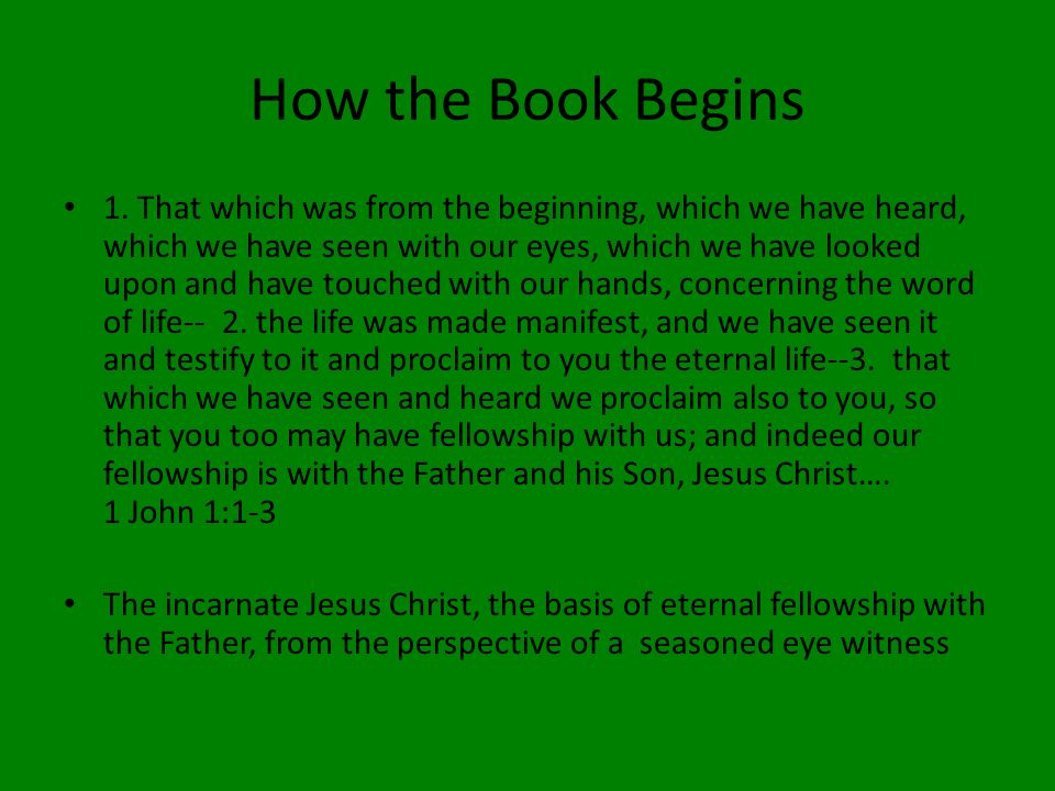 How the Book Begins 1.
