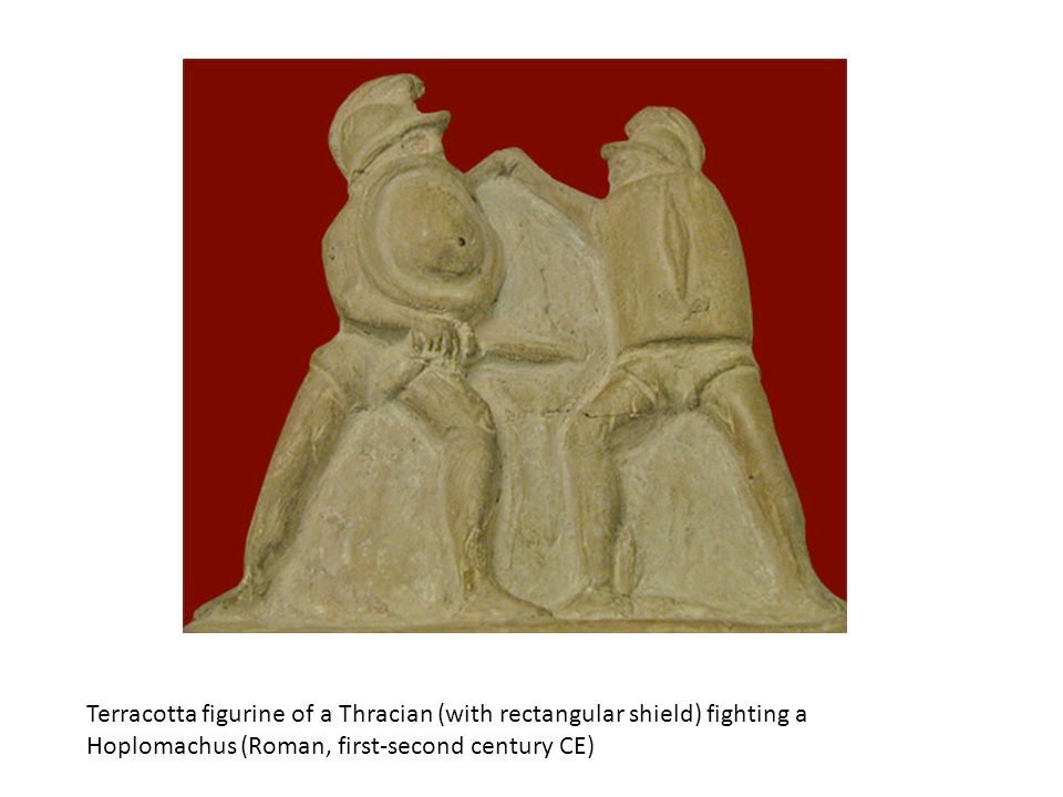 Terracotta figurine of a Thracian (with rectangular shield) fighting a Hoplomachus (Roman, first-second century CE)