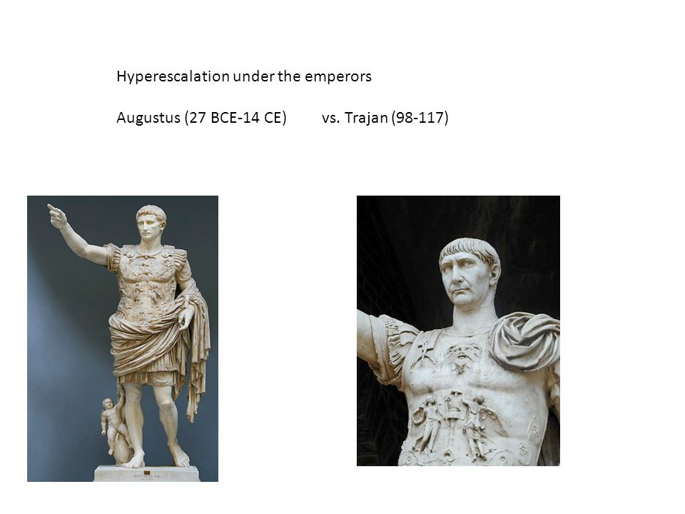 Hyperescalation under the emperors Augustus (27 BCE-14 CE)vs. Trajan (98-117)