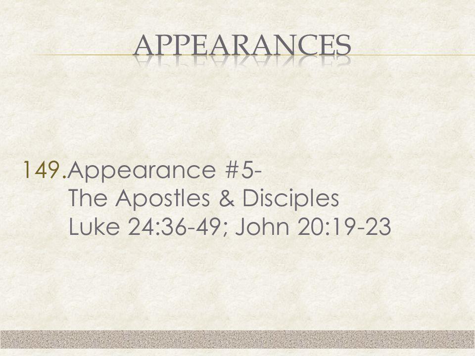149.Appearance #5- The Apostles & Disciples Luke 24:36-49; John 20:19-23
