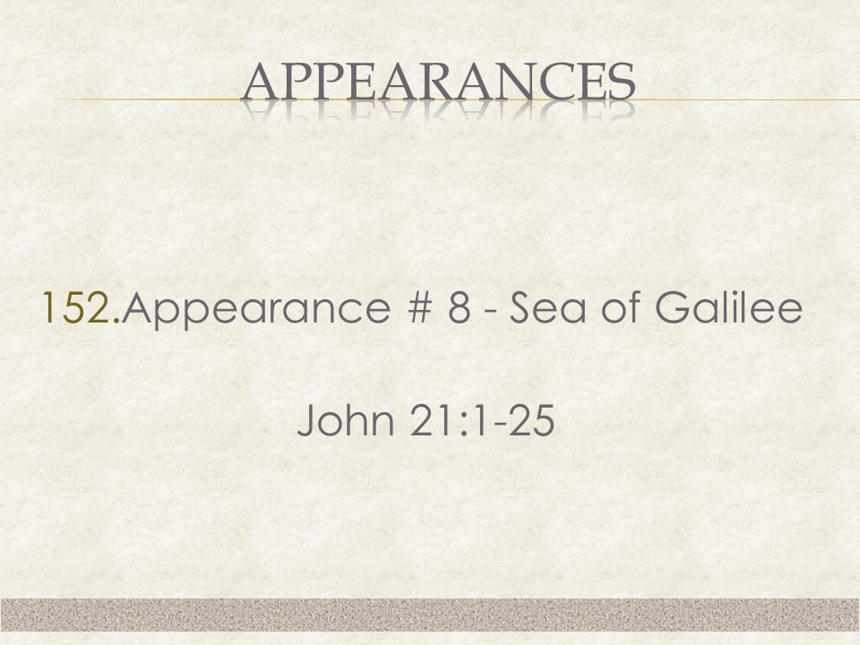 152.Appearance # 8 - Sea of Galilee John 21:1-25