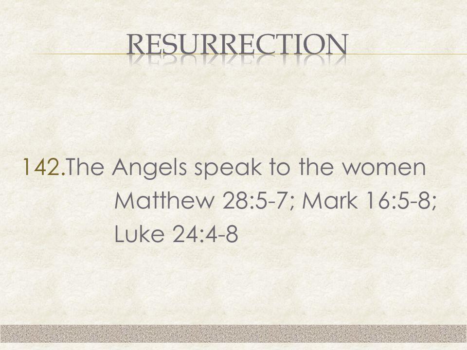 142.The Angels speak to the women Matthew 28:5-7; Mark 16:5-8; Luke 24:4-8
