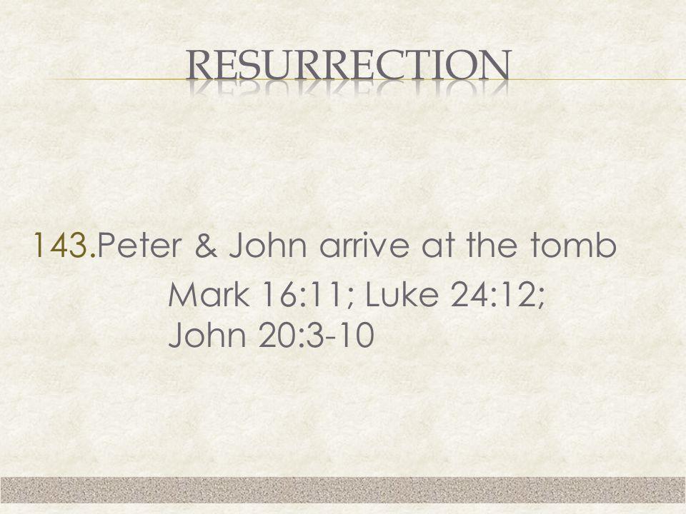 143.Peter & John arrive at the tomb Mark 16:11; Luke 24:12; John 20:3-10