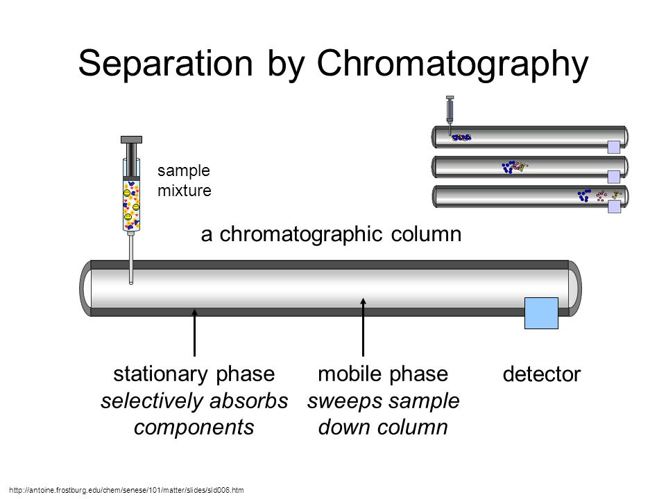 Paper Chromatography of Water-Soluble Dyes orange red yellow Initial spots of dyes Direction of Water (mobile phase) movement Filter paper (stationary