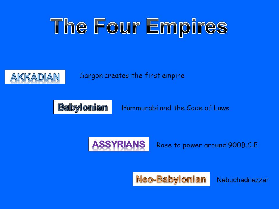 Sargon creates the first empire Hammurabi and the Code of Laws Rose to power around 900B.C.E.
