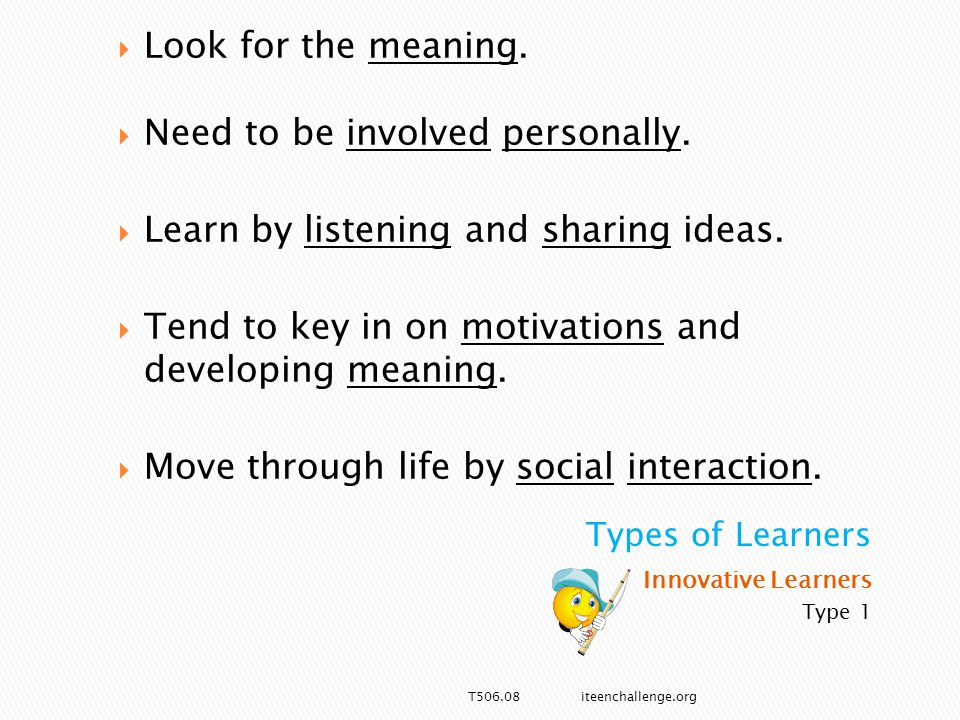 Innovative Learners Type 1  Look for the meaning.