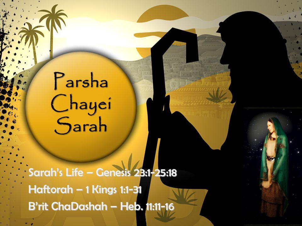 Parsha Chayei Sarah Sarah's Life – Genesis 23:1-25:18 Haftorah – 1 Kings 1:1-31 B'rit ChaDashah – Heb.