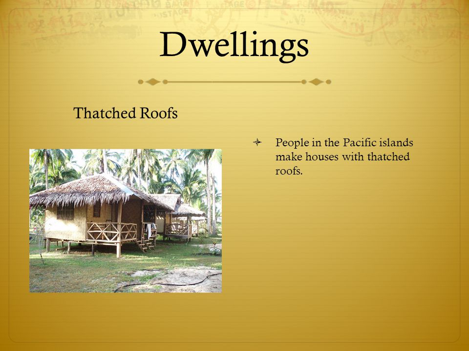 Dwellings Thatched Roofs  People in the Pacific islands make houses with thatched roofs.