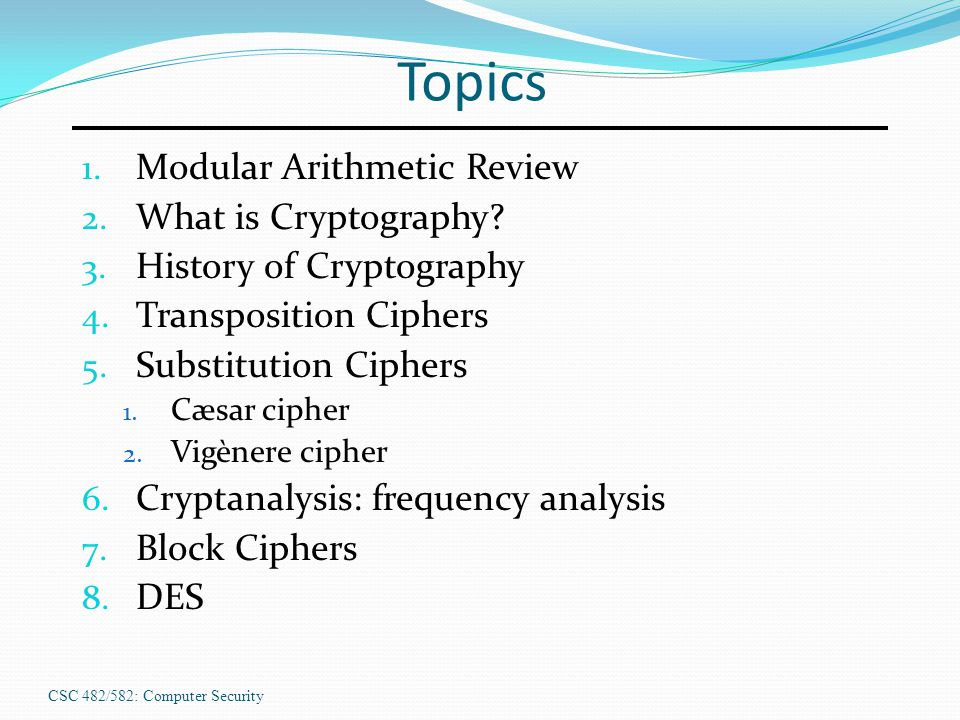 Topics 1. Modular Arithmetic Review 2. What is Cryptography.