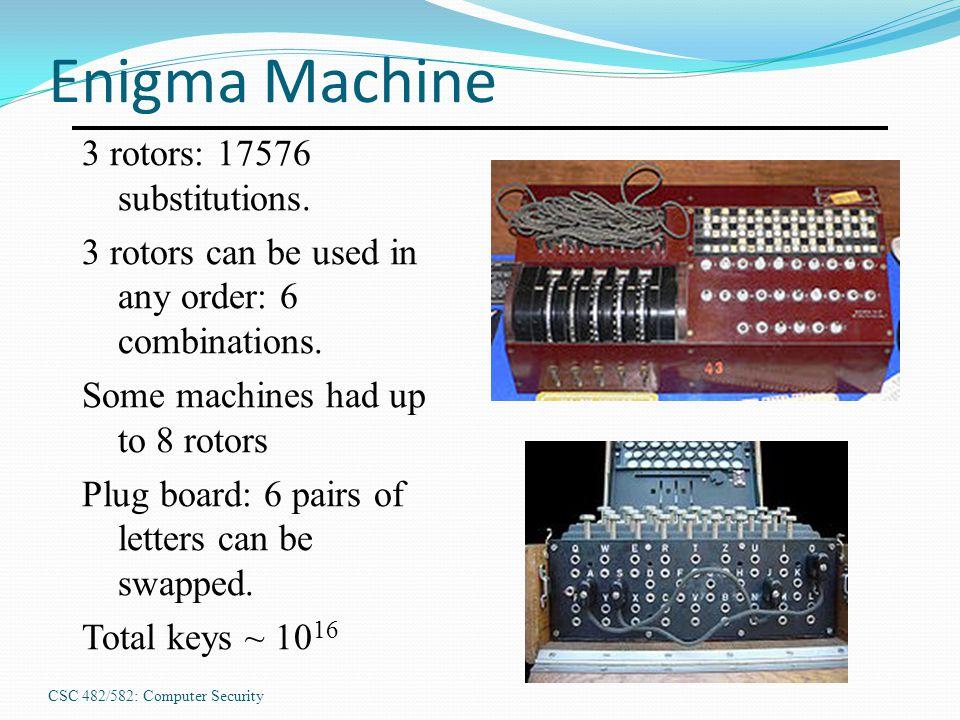 CSC 482/582: Computer Security Enigma Machine 3 rotors: 17576 substitutions.